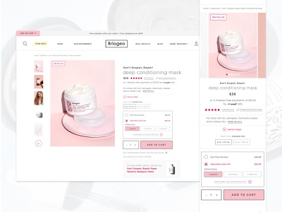 Briogeo Subscription on Product Detail Page subscription subscribe pdp product detail page product page product ux ui ux design ui design shopify ecommerce design ecommerce haircare design website modern web ux ui