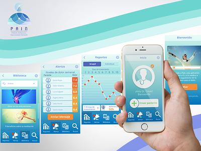 PAIN - Patients Adherence Improvement Network - Mobile App colombia logo vector design mobile app mobile ux ui graphic design branding