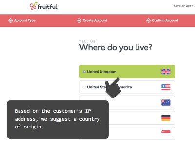 Where are you from? iteration form onboarding fruitful ux ui