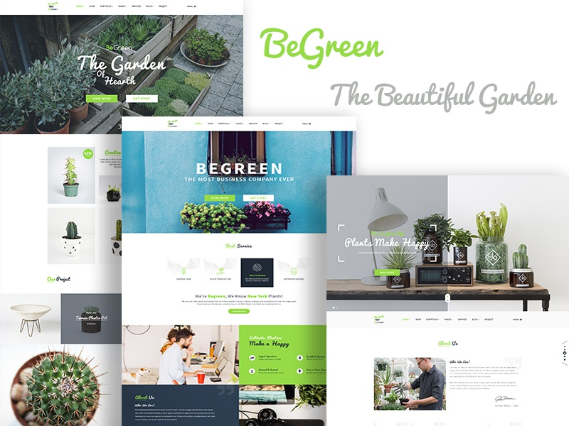 BeGreen - Multipurpose Planter PSD Template wordpress template web design green tree shop planting