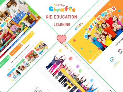 Giraffe - Kid Education Learning PSD Template web design child care center kids psd template learning center kid education