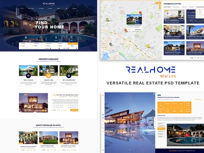 RealHome - Versatile Real Estate PSD Template web design psd template real estate