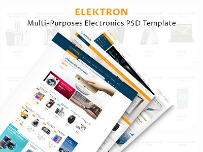 Elektron - Multi-Purposes Electronics PSD Template psd template web design media center electronics template