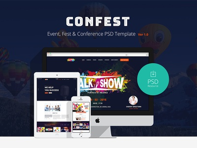 ConFest - Multi-Purposes Event and Conference PSD Template web design conference template event website event template