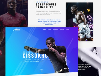 Cissokho home page final direction artistique design cissokho website desktop boxe sport