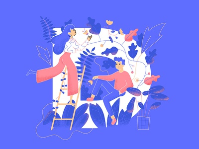 36days_D 36daysoftype 36days-d plant nature couple women romantic typography character illustration
