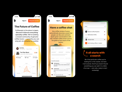 The Future of Specialty Coffee blur mobile design mobile ui mobile ux gradients startup coffe