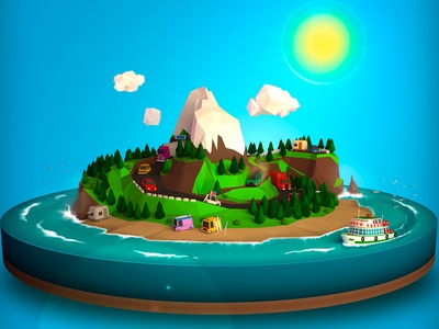 Island Holidays  island vacations holidays 3d low poly