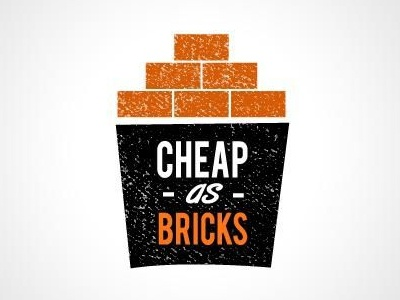 Cheap as bricks logo  logo branding chips bricks orange retro grunge