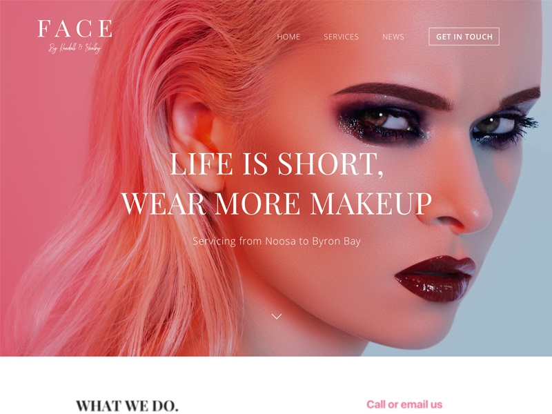 Face big photo dark orange pink typography website header web style fashion makeup