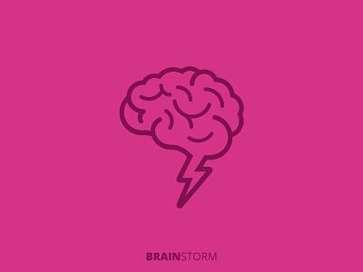 Brainstorm lightning bolt brainstorm brain logo icon