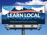 Learn Local Billboard illustration wvc saddle rock miss veedol college valley wenatchee billboard