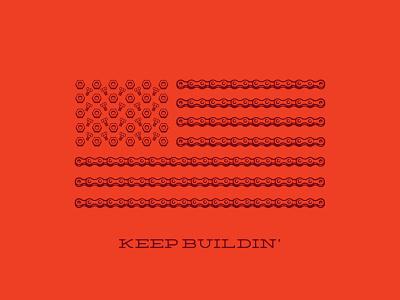 USA - Keep Buildin' bike bike chain bolts nuts usa american flag