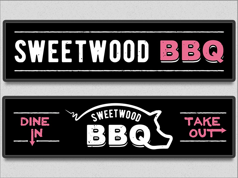 Sweetwood BBQ Backlit Signs by Nick Winters on Dribbble