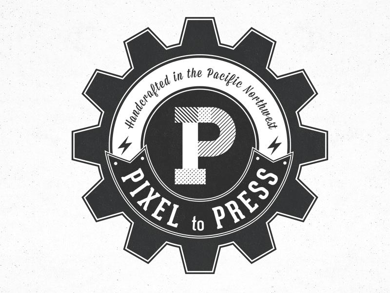 Pixel to Press pacific pixel press logo gear cog vintage old fashioned northwest