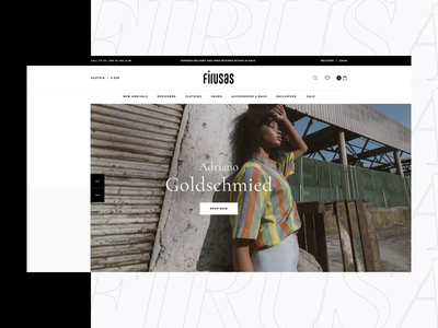 Firusas home page ecommerce e-store design fashion concept ui white ux