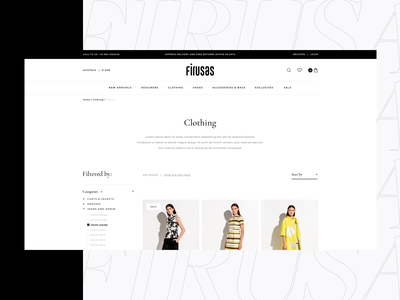 Firusas catalog ecommerce typography e-store design concept blvk animation white ui ux