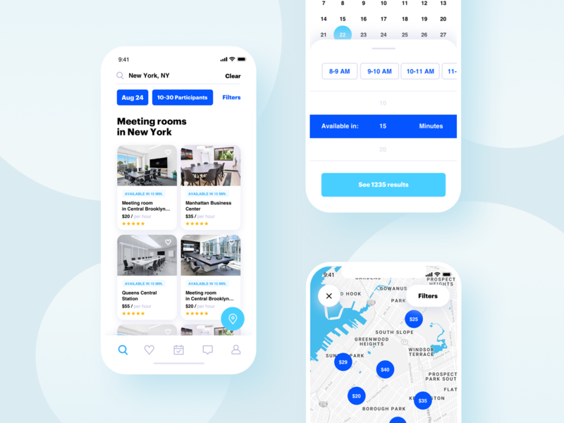 Meeting rooms Booking App mobile app design mobile design mobile app mobile white blue booking app ios app illustration concept ui ux