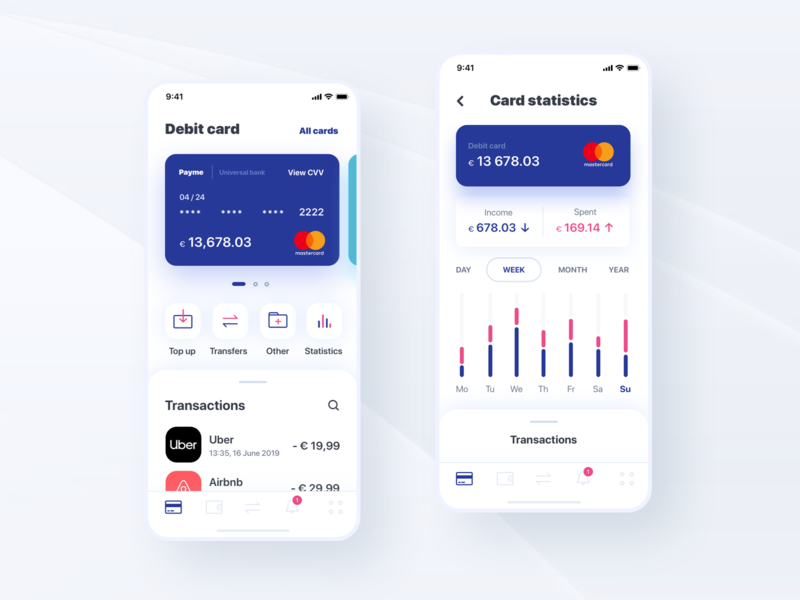 Fintech app banking app banking cards fintech design illustration white ui ux