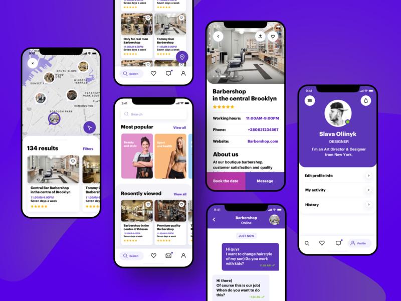 Services booking app. Main screens mobile design mobile app application app design vector app fashion concept ui branding white ux
