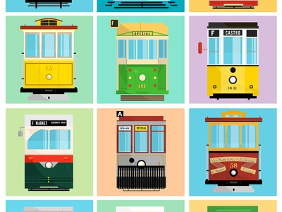 Streecars of San Francisco streetcar bayarea francisco san flatdesign adobe photoshop flatcars design art