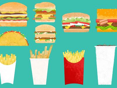 Fast Food Graphics graphics food flatdesign adobe photoshop design five guys