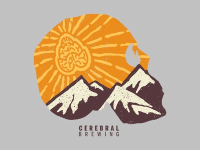 Cerebral Brewing beer brewery mountains photoshop graphic design nature adobe design art