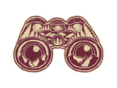 Binoculars Faux patch photoshop vintage design art