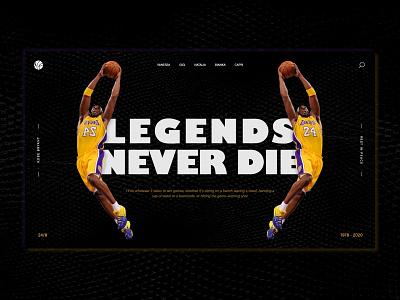Kobe Tribute landing legend icon branding rip tribute webpage bryantfamily bryantfamily gigi basket ball kobe kobebryant home page landing page ux design ui