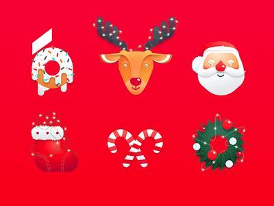 Xmas Time Illustrations graphicdesign graphic holidays characterdesign texture xmas card santa illustration art trendy new year merry christmas xmas vector icon set christmas uibakery illustration