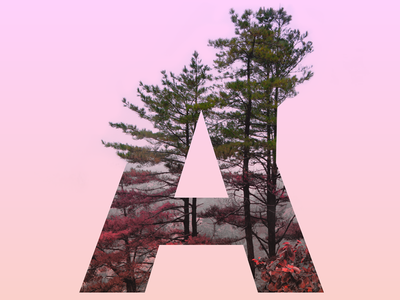 """The letter """"A"""" letter trend gradient tree"""
