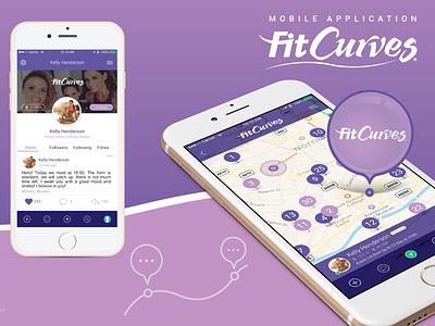 Mobile application FitCurves wip ux ui violet interface design mobile application fitness