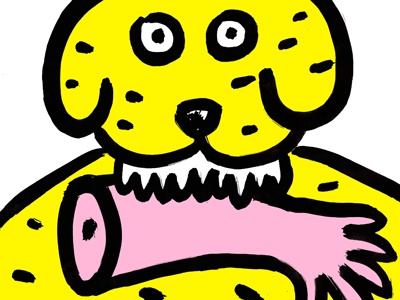 Surprise dog hand surprise yellow theeth