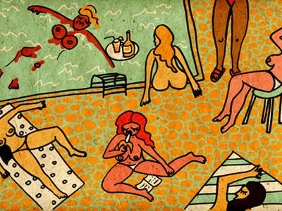 Sunday Sun women summer beach swimming pool sun fun naked body woman girls free time