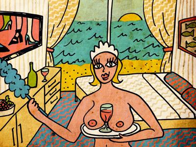 Room service woman room service chambermaid maid cleaning lady hotel summer beach leasure holidays wine room hotel room