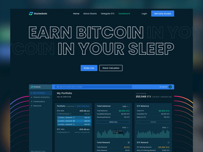 StackSats website design analytics dashboard blockchain uidesign website uiux bitcoin crypto dashboard staking crypto staking cryptocurrency