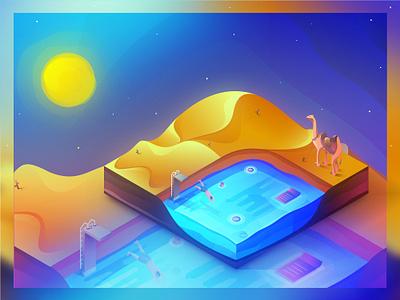 Desert Illusion pool swimming sand art web hot illusion desert illuatration isometric