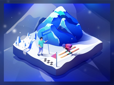 Skiing on the mountainside digital iceland isometric illustration web winner waterfall snow cold ice mountain sports winter skiing