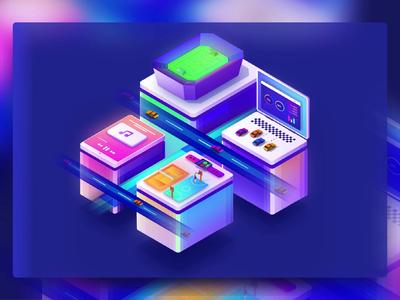 Super Platform 3d design motion design platform vibrant webillustration technology digital uiux interaction animation illustration isometric