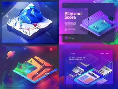 my T O P 4 designs from 2018 art 3d transformation icon entertainment city web sports design club ui digital isometric illustration