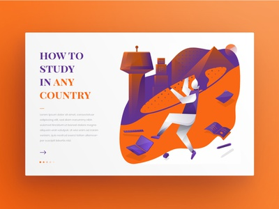 Study abroad easily - web slider empty state slider design landing page design study student education website icon web slider design web uiux illustration