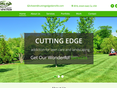 Mockup for CUTTING EDGE responsive photoshop client creative landscaping lawn care