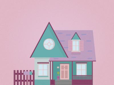 Colorful House  pastel illustration