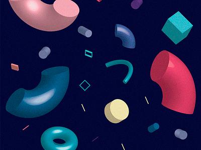 3D Experiment geometric colorful illustration 3d