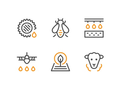 Farm And Agricultural Icons agricultural farm symbol color flat outline line icon