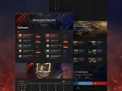 World of Tanks: Tournaments tournaments wot world of tanks tanks portal design system ux ui interface design website