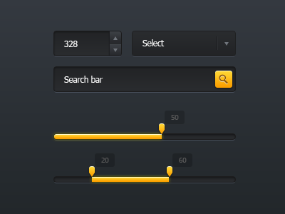 Small Dark Ui Kit ui kit slider input select search bar