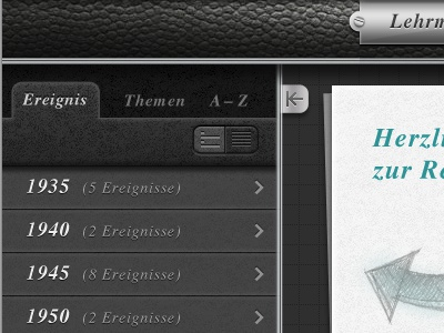 Photolibrary / History-Learning-App grey black tabs leather list app