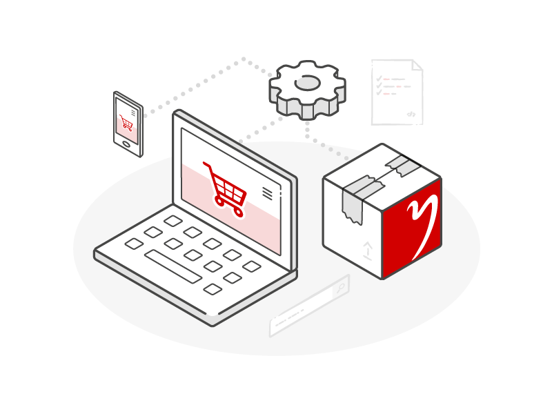 E-Commerce icon sketch gear package laptop computer red illustration isometric
