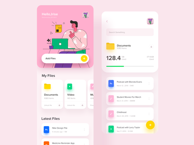 File Manager file manager illustraion ping freelancer design profile light layout interactive clean artist